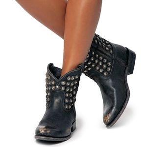 Frye Wyatt Disco Short Distressed Leather Boots